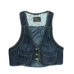 Denim gilet met strik